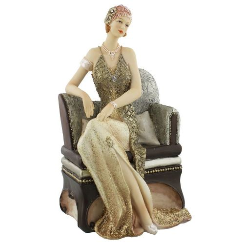 Art Deco Lady Figurine Sat On Chair Cream Gold Broadway Belles by Juliana 'Valerie' 58432
